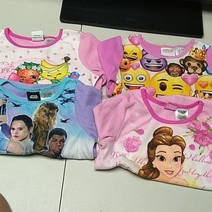 Girls 4 sleepwear tops size 6-6x